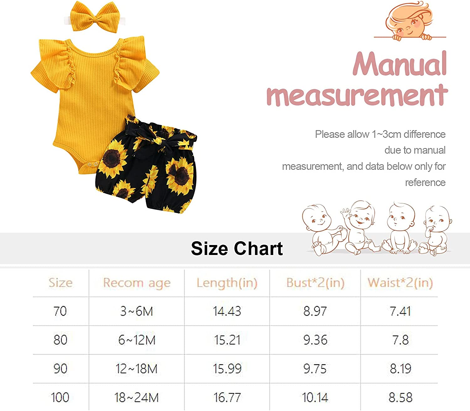 Infant Baby Girl Clothes Fall Outfits Set Cotton Ruffle Sleeve Romper 3PCS Bodysuit + Floral Pants +Headband