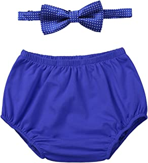 Baby Boy Girl Cake Smash Outfit First Birthday Bloomers Diaper Cover Shorts and Bow Tie Clothes Set Photography Props