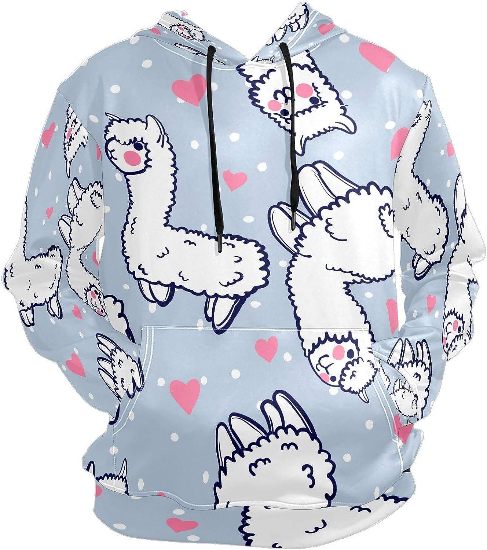 Men's Sport Hoodie Cute Llama Alpaca Cartoon Blue Big and Tall Hoodies for Men Women Oversized Hooded Sweatshirt Hip Hop Pullover Hoodie Midweight Hood for Boys Girls