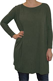 Women's Famous Long Sleeve Bamboo Top Loose Fit Dolman Style (Small, Army)