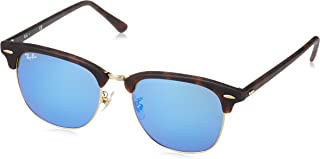 RB3016F Clubmaster Square Asian Fit Sunglasses, Sand Havana Gold/Blue Flash, 55 mm