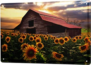 Fayotrade Plants Barn Sunflower Field Tin Sign Metal Plate Decorative Plaques 20 x 30 cm