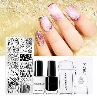 NICOLE DIARY Nail Stamping Starter Kit Nail Templates Polish Set Nail Image Plate Print DIY Tool + Stamping Nail Polish with Stamper & Scraper (set 1)