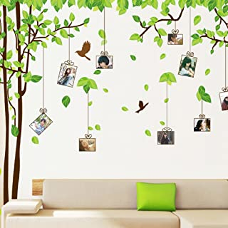 Large Picture Photo Frame Tree Wall Art Decals, Living Room Bedroom Removable Wall Stickers Murals, Set of 2 Sheets