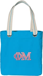 Broad Bay Phi Mu Sorority Tote Bag Deluxe Dye Washed Cotton Canvas Turquoise