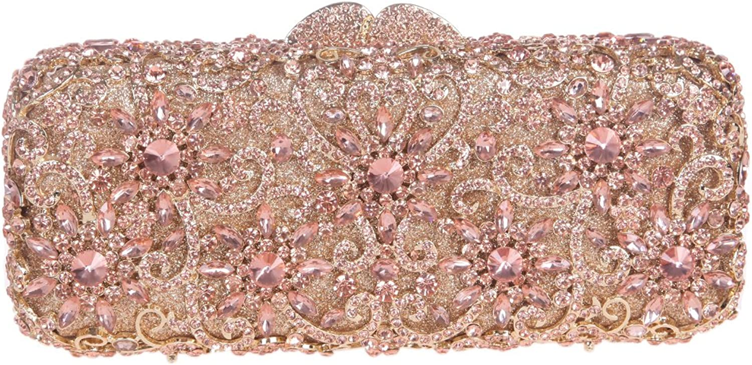 Fawziya Sun Flower Purse Women's Baguette Rhinestone Clutch Evening Bag-pink gold