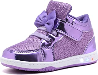 Toddler Glitter Shoes Girl's Flashing Sneakers with Cute Bowknot