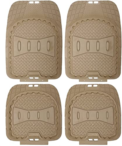 new arrival OxGord 4pc Full Set Deep Dish Rubber Floor Mats, Universal Fit Mat new arrival for Car, SUV, Van high quality Trucks - Front Rear, Driver Passenger Seat - Beige outlet online sale