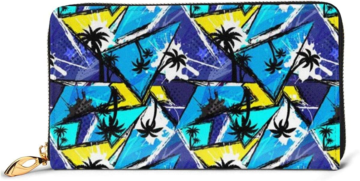 Urban OFFicial mail order Geometric Elements Black Palm Max 68% OFF Wallet Leathe Genuine Womens