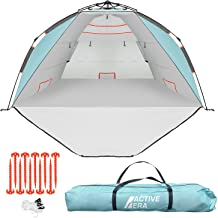 Active Era Premium Beach Tent Easy Setup – Portable 3-4 Person Beach Shade Tent Sun Shelter with UPF 50+ Rated Sun Protect...