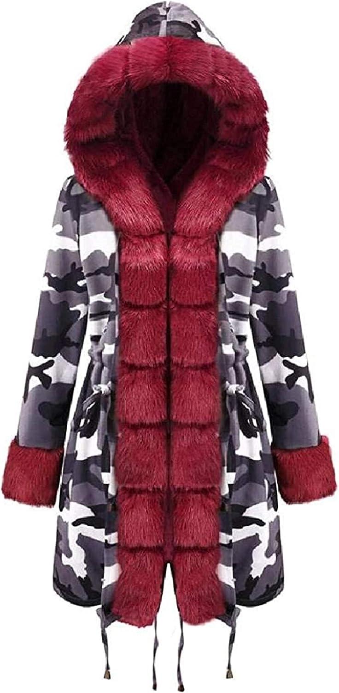 Womens Faux Fur Warm Faux Fur Trim Hood Overcoat Sherpa Parka Jacket