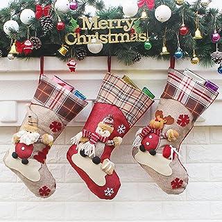 "Christmas Stockings, 3PCS 18"" Christmas Stocking Classic Large Stockings Santa, Snowman, Reindeer Xmas Character, Merry Ch..."