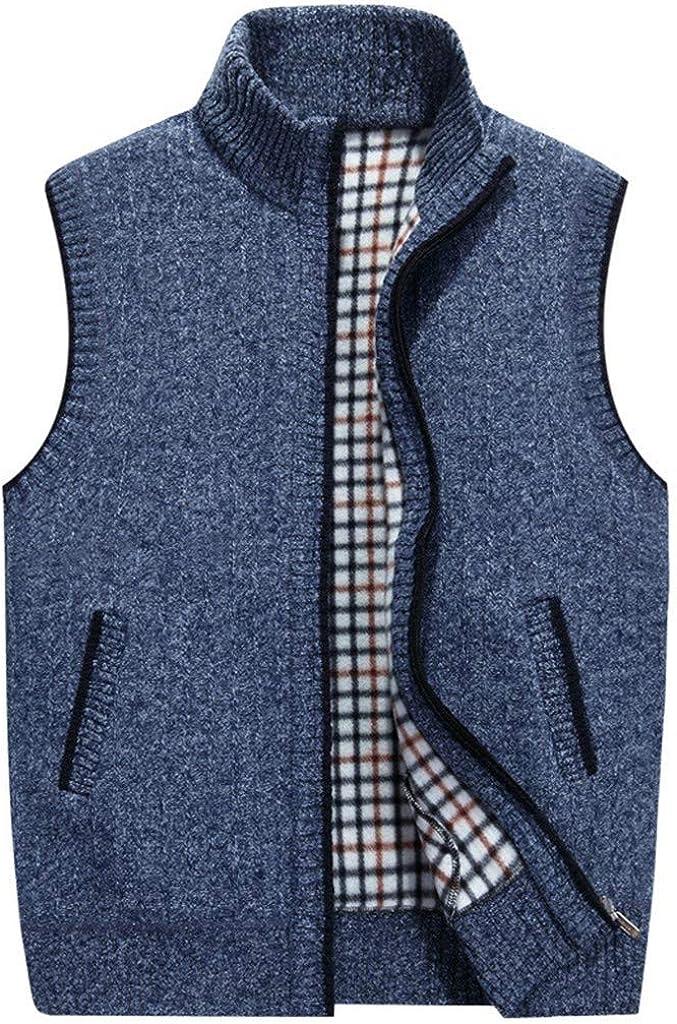 Men Vest Jacket FashionAutumn Winter Pure Zipper Fleeced Warm Cardigan Knit Sweater Vest Waistcoat at  Men's Clothing store