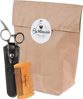 Bartmanie skäggtrimmer set med skäggsax i rostfritt stål och kam i trä inklusive ett falskt läderfodral, skäggklippningssa...