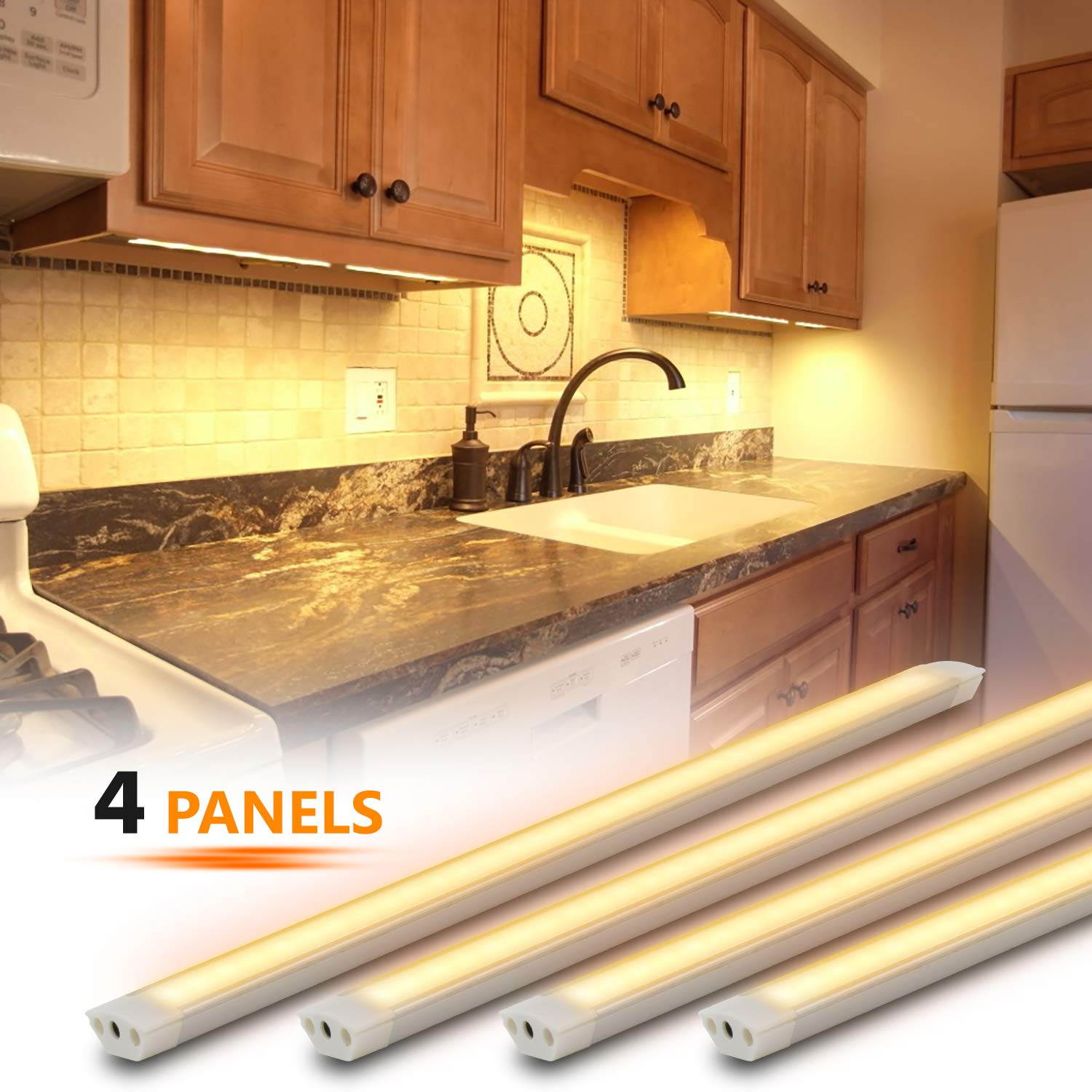 Under Cabinet Lighting Kit 4pcs 12 Inches Under Counter Lights 12w 840 Lumens Dimmable Led Kitchen Cabinet Strip Lights Warm Light 3000k Buy Online In Dominica At Dominica Desertcart Com Productid 118225927