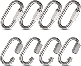 Acrux7 Heavy Duty Locking Carabiner Clip for Rock Climbing, 8 Pack M6 Stainless Steel Carabiners, Hexagon Stud Connector & Deep Thread for Heavy Duty Climbing Hook, Strongly Stamping