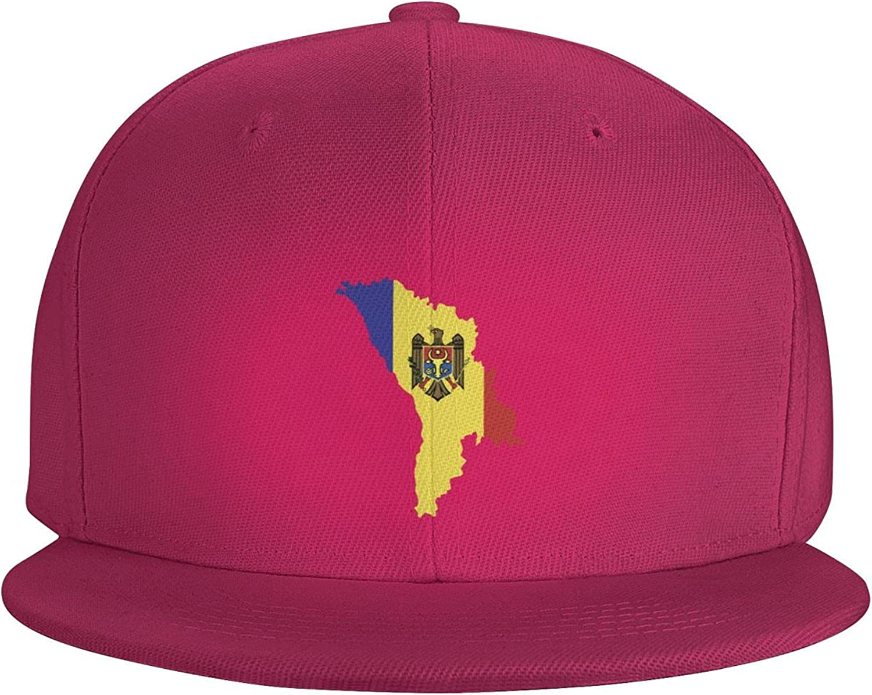 Moldova Map Country of Europe Flat Brim Baseball Hat Cowboy Hat Sun Hat Unisex