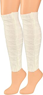 "HOME-X Ladies Sock, Acrylic Crochet Leg Warmers for Women, 16"" Long Cream Winter Accessory"