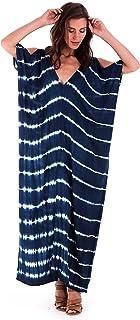 SHU-SHI Womens Casual Maxi Tie Dye Cold Shoulder Long Loose Dress Beach Cover Up