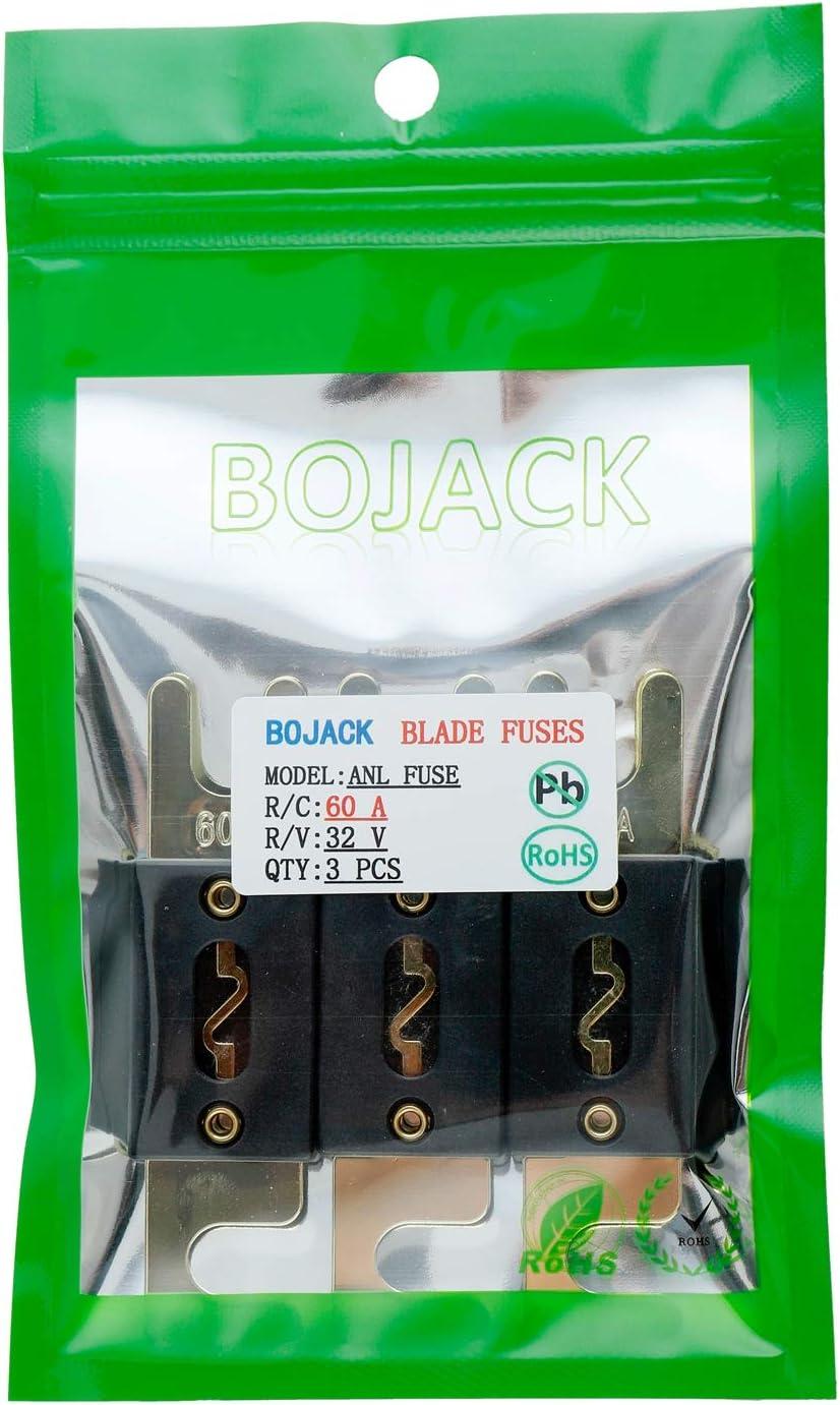 Bojack 30 Amp 32 Vdc Anl Flachsicherungen Für Auto Audio Und Videosystem Packung Mit 3 Stück Auto