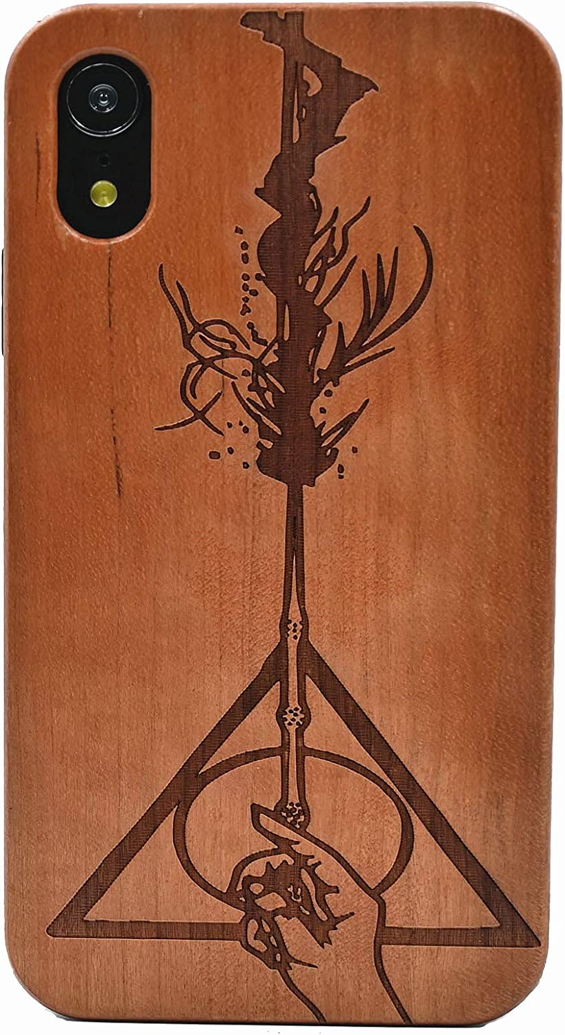 CYD Wooden Case for iPhone XR,Natural Real Wood Engraved Hallows Magic Wand Shockproof Drop Proof Slim Bumper TPU Protective Cover for iPhone XR