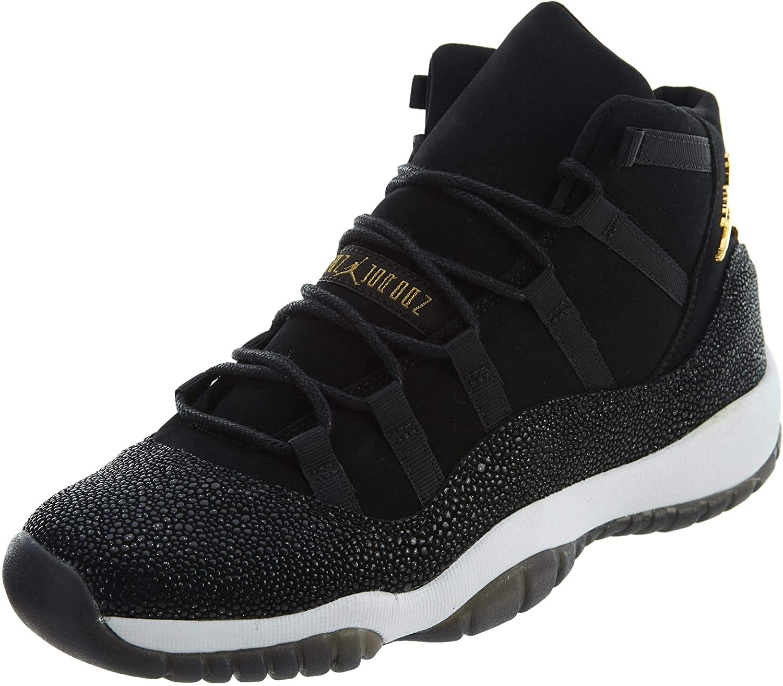 Jordan Air 11 Retro Premium HC Big Kids' Basketball Shoes Black/Gold-White 852625-030