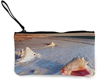 Sea Salt Shell Unisex Canvas Coin Purse Change Cash Bag Zipper Small Purse Wallets With Handle