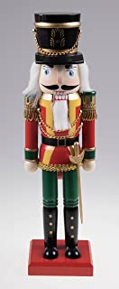 Traditional Wooden Soldier Nutcracker with Sword| Red and Green | Festive Christmas Decor | Classic Collectible Nutcracker | Perfect for Any Decor Theme | 14