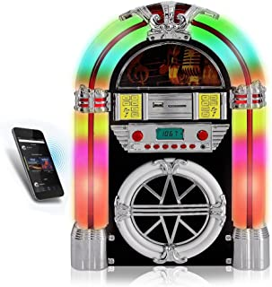 Pyle PJUB25BT Bluetooth Jukebox MP3 Speaker Player LED Lighting, AM/FM Radio, USB/SD Readers with Aux Input
