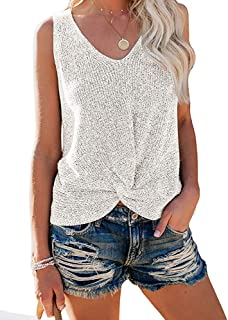 Womens Casual Sleeveless Crop Tank Sweater Twist Front Tees Vest Tops