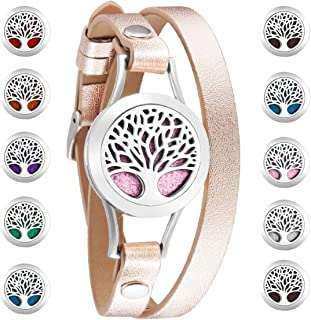 Essential Oils Diffuser Bracelet Leather Band, Carving Round Stainless Steel Aromatherapy Locket Bracelets Leather Band with 10 Color Pads, Gifts for Women