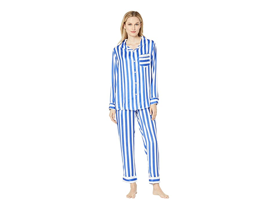 Plush Silky Striped Long Sleeve Pants Pajama Set (Cobalt/White Stripe) Women