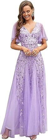 Ever-Pretty Vestidos de Fiesta Mujer Largo Tul Lentejuelas Escote V A-línea Elegantes 00734