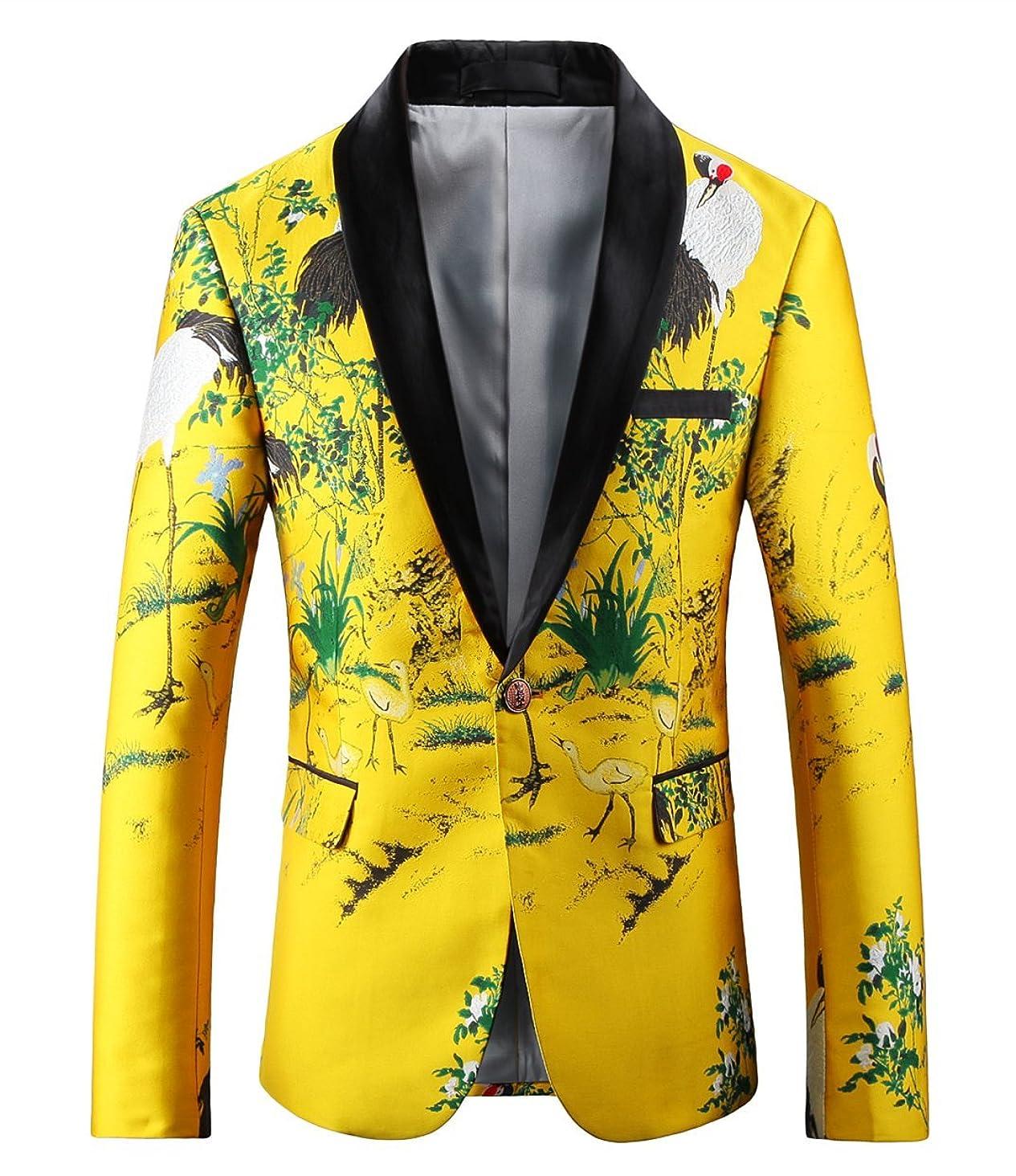 MOGU Mens Slim Fit Yellow Blazer Printed Sport Coat