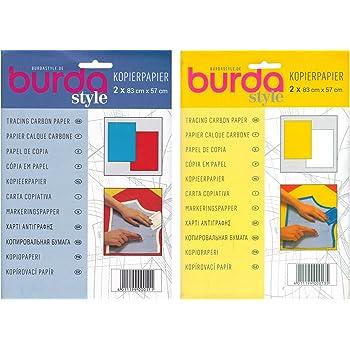 Lot de 2 paquets de 2 feuilles calques carbones Burda 83/x 57/cm 1 paquet avec 1 feuille bleue et 1 rouge et 1 paquet avec 1 feuille jaune et blanche