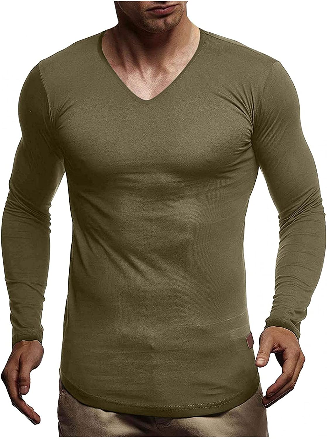 WUAI-Men Casual Slim Fit Basic Henley Shirts V-Neck Long Sleeve Muscle Bodybuilding Casual Cotton Plain Tee Tops