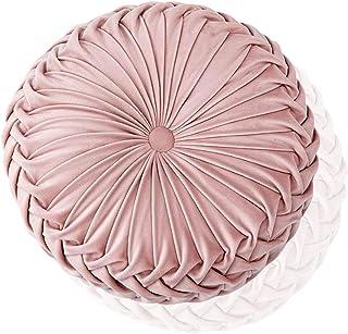 Cojín decorativo para el hogar, 38 cm, redondo, cojín de terciopelo con diseño de calabaza, hecho a mano, plisado para el hogar, sofá, silla, cama, decoración del coche (rosa)