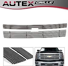 AUTEX 2pcs Aluminum Polished Horizontal Billet Main Upper Grille Insert Compatible With 2014 2015 Chevy Silverado 1500 Grill Reg Model C65950A