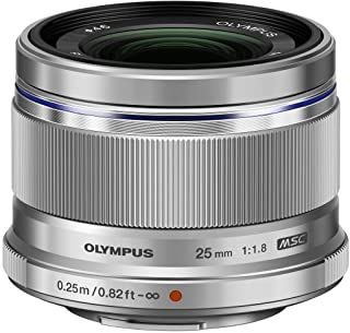 Objetivo Olympus M.Zuiko Digital 25mm F1.8 Longitud Focal Fija rápida Apto para Todas Las cámaras MFT (Modelos Olympus OM-D & Pen Serie G de Panasonic) Plata