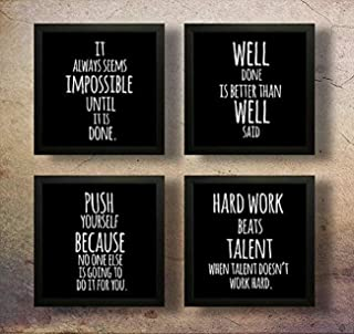 SAF Set of 4 Work Hard Beat Talent Motivational UV Coated Home Decorative Gift Item Framed Painting 19 inch X 19 inch SAF_...
