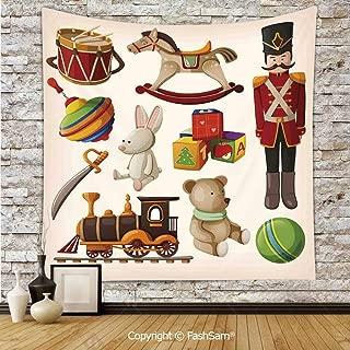 FashSam Hanging Tapestries Vintage Wooden Toys Decor Rocking Horse Soldier Sword Blocks Doll Drum Train Retro Print Decorative Wall Blanket for Living Room Dorm Decor(W59xL90)