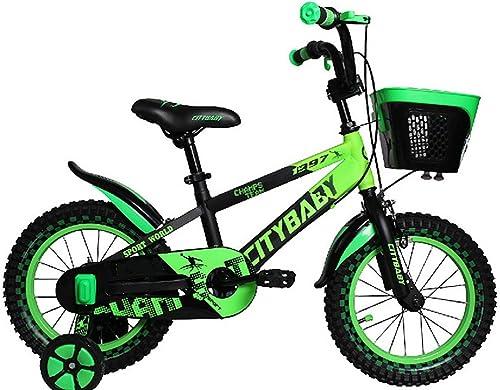 OCCMFZD Kinderrad mit Trainingsrad Junge und mädchen fürrad 12inch Für 3-5 Jahre Altes Kind (Farbe   Grün)