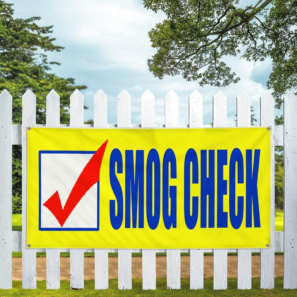 Vinyl Banner Multiple Sizes Smog Check Business Business Outdoor Weatherproof Industrial Yard Signs Yellow 10 Grommets 60x144Inches