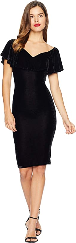Velvet Draped Off Shoulder Sophia Wiggle Dress