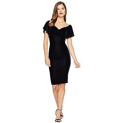 Unique Vintage Velvet Draped Off Shoulder Sophia Wiggle Dress (Black) Women