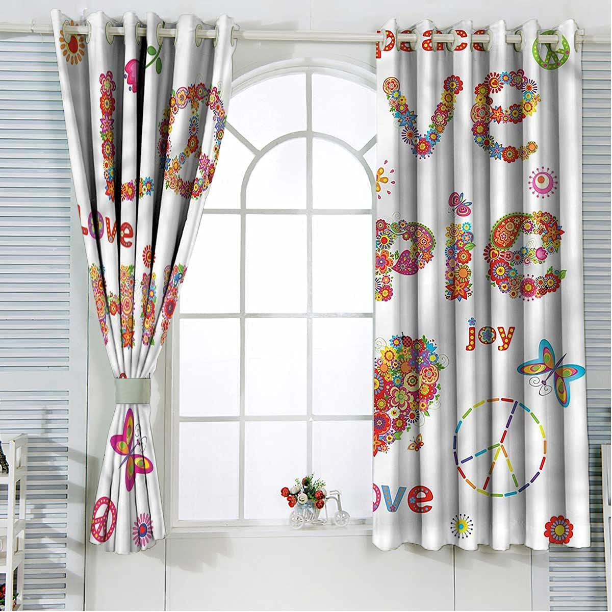 Groovy Soundproof Curtains Max 61% OFF 108 Inch Length Hippie Flo Now on sale Vivid Love