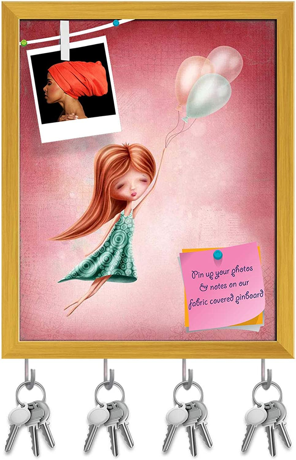 Artzfolio Girl Flying in The Sky Key Holder Hooks   Notice Pin Board   golden Frame 16 X 19.7Inch
