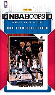 Portland Trail Blazers 2018 2019 Hoops Basketball Factory Sealed 9 Card Team Set with Damian Lillard, CJ McCollum, Rookie Cards of Gary Trent Jr and Anfernee Simons Plus