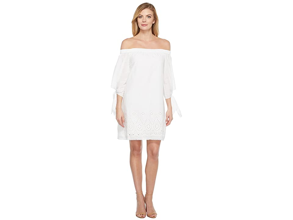 Laundry by Shelli Segal Off the Shoulder Tie Sleeve Dress w/ Embroidered Hem (Optic White) Women
