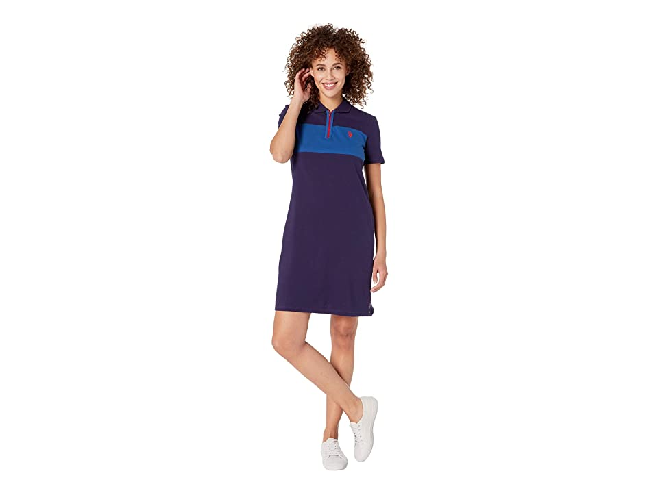 U.S. POLO ASSN. Chest Zip Pleated Dress (Evening Blue) Women